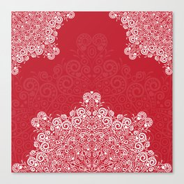 Red background with white love mandala Canvas Print