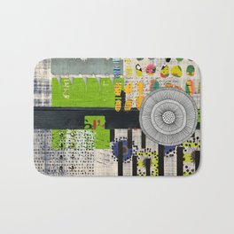 Lime & Navy Abstract Art Collage Bath Mat