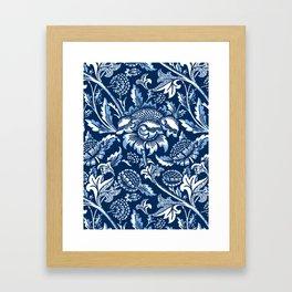 William Morris Sunflowers, Dark Blue and White Framed Art Print