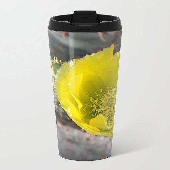 Cactus in bloom Metal Travel Mug