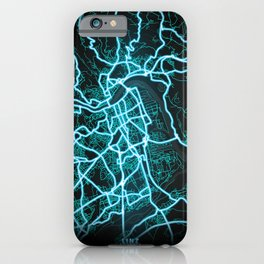 Linz, Austria, Blue, White, Neon, Glow, City, Map iPhone Case