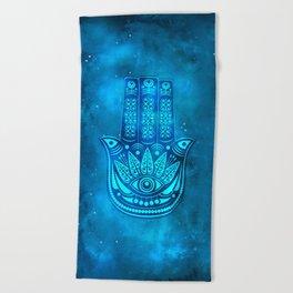 Hamsa Hand Magic Eye Blue Watercolor Art Beach Towel
