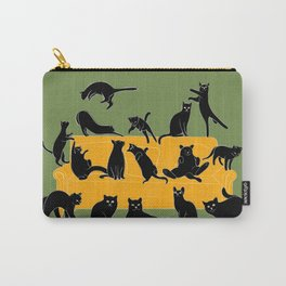 Black cats on yellow sofa | Green Carry-All Pouch