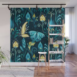 Floral blue pattern with butterfly Wall Mural