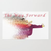 hiphop Area & Throw Rugs featuring Famous humourous quotes series: The way forward. Exploding hiphop dancer  by PhotoStock-Israel