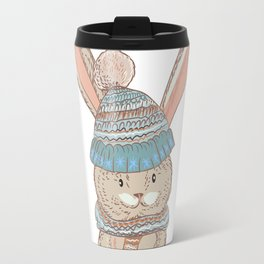Cute bunny in winter hat and scarf Travel Mug