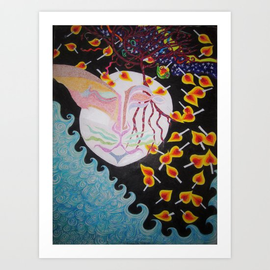 Moon Shiva Wishing Well Art Print