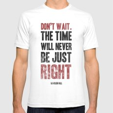 Don't wait SMALL Mens Fitted Tee White