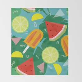 Watermelon, Lemon and Ice Lolly Throw Blanket