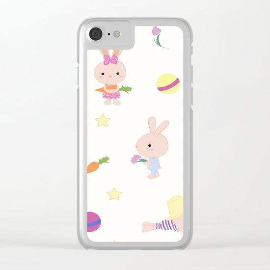 Funny bunnies, cute cartoon characters Clear iPhone Case