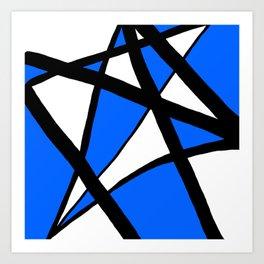 China Blue Geometric Triangle Abstract Inverse Art Print