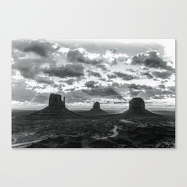 Southwest Wanderlust - Monument Valley Sunrise Black and White Canvas Print