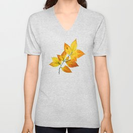 Autumn Leaves Azure Sky Unisex V-Neck