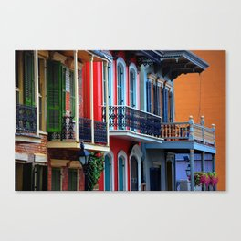 Colorful French Quarter Row Homes Canvas Print