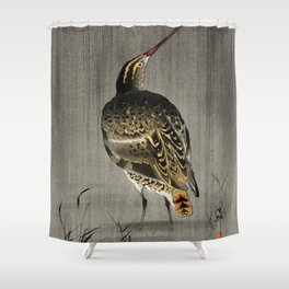 Snipe Fishing - Japanese vintage woodblock print Shower Curtain