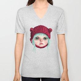 Red bear doll Unisex V-Neck