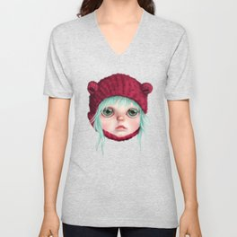Red bear doll Unisex V-Neck