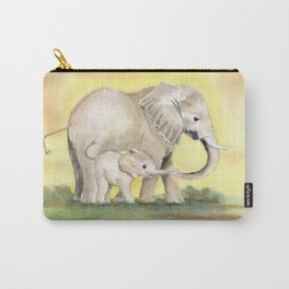 Colorful Mom and Baby Elephant 2 Carry-All Pouch