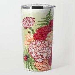 Full bloom   Ladybug carnation Travel Mug