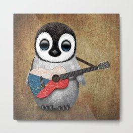 Baby Penguin Playing Czech Flag Acoustic Guitar Metal Print
