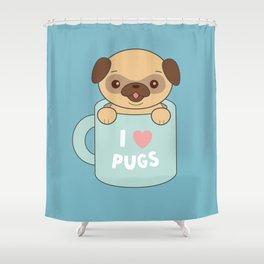 Kawaii Cute I Love Pugs Shower Curtain