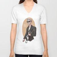 the dude V-neck T-shirts featuring DUDE! by Adrianna Ojrzanowska