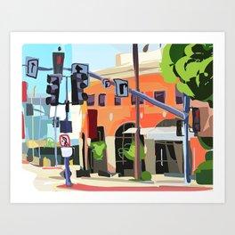 City Street Scene LA Painting Art Print