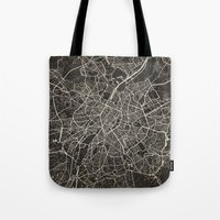 brussels Tote Bags featuring brussels map by NJ-Illustrations