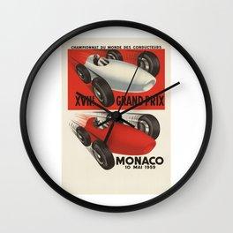 Vintage Monaco Grand Prix Poster - Circa 1959 Wall Clock