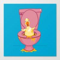 toilet Canvas Prints featuring Toilet Duckling by Chris Piascik