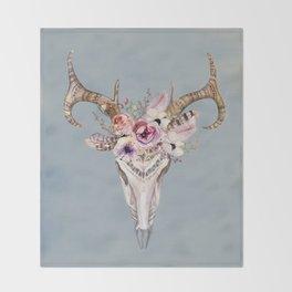Deer Skull 2 Throw Blanket