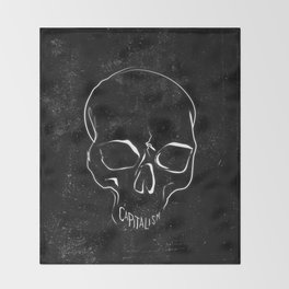 Anti Capitalism Black Skull Political Art Print Throw Blanket