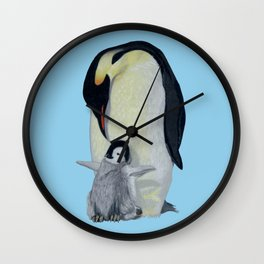 Penguin Mother and Chick Wall Clock