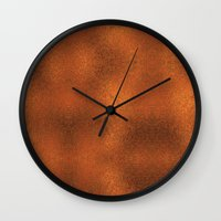 gold foil Wall Clocks featuring Gold Foil Texture 4 by Robin Curtiss