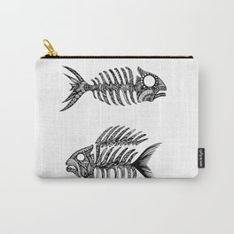 Original Artwork Fish Bone print, Abstract Ink Painting, Summer Home Decor, Seasonal Art Gift Carry-All Pouch