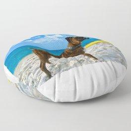 BOXER DOG SURFER BEACH BUM AND FRIEND Floor Pillow
