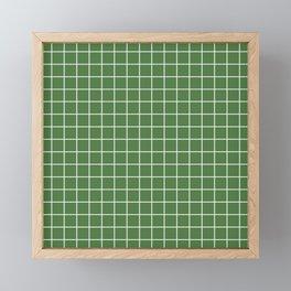 Fern green - green color - White Lines Grid Pattern Framed Mini Art Print