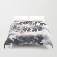 fitness Duvet Covers featuring Drive it like youre already dead by HappyMelvin