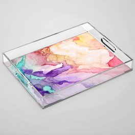 Color My World Watercolor Abstract Painting Acrylic Tray