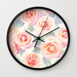 Faded Vintage Painted Roses Wall Clock