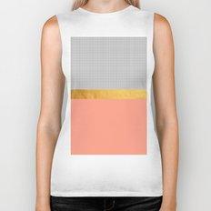 Minimalist Fashion Peach Pink + Gold + Squares Biker Tank