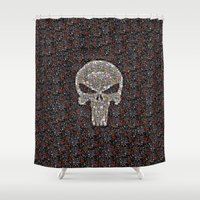 punisher Shower Curtains featuring PUNISHER -  WAR ZONE by Raisya