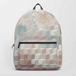 Distressed Cube Pattern - Nude, turquoise and seashell Backpack