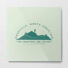 Asheville- The Mountains Are Calling - AVL 10 Green Metal Print
