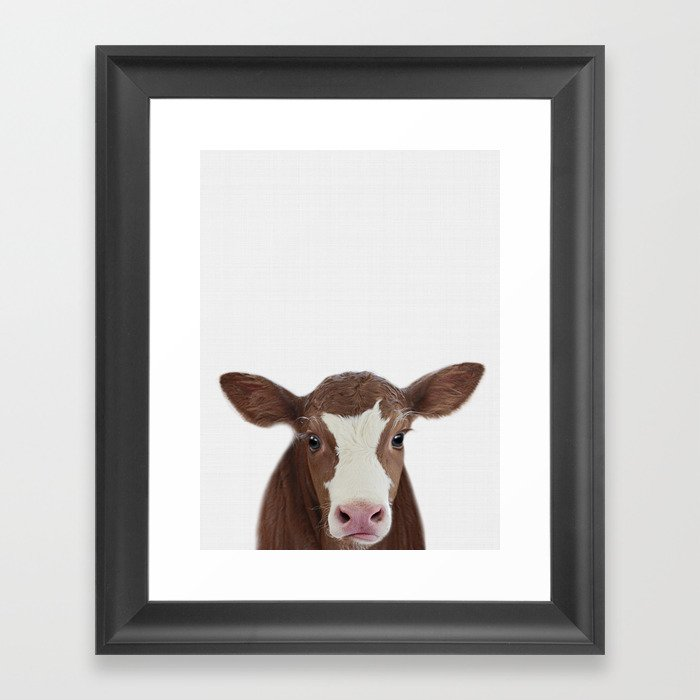 Cow Print Farm Animal Prints Nursery Decor Art Baby Animals Framed