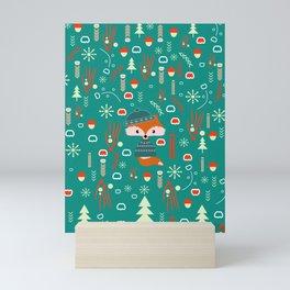 Cute fox waiting for Christmas Mini Art Print