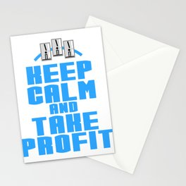 """A Great Gift For Business Minded Persons Saying """"Keep Calm And Take Profit"""" T-shirt Design Relax Stationery Cards"""