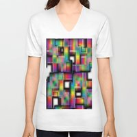 plaid V-neck T-shirts featuring Puzzled Plaid by Tami Cudahy