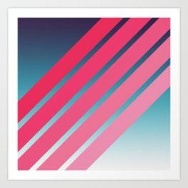 Pink Stripes on Blue Gradient Art Print