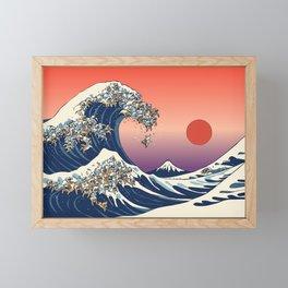 The Great Wave of English Bulldog Framed Mini Art Print